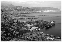 Salerno, with its industrial port in the foreground. Amalfi Coast, Campania, Italy (black and white)