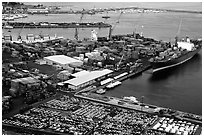 Industrial port of Salerno. Amalfi Coast, Campania, Italy (black and white)