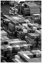 Containers in Salerno port. Amalfi Coast, Campania, Italy (black and white)