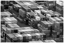 Shipping Containers in Salerno port. Amalfi Coast, Campania, Italy (black and white)