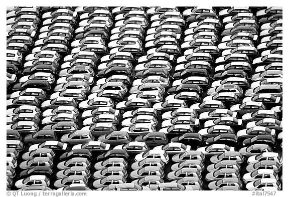 Cars waiting for shipping in Salerno port. Amalfi Coast, Campania, Italy (black and white)