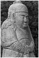 Stone figure of civil official, Seolleung, Samreung Gongwon. Seoul, South Korea ( black and white)