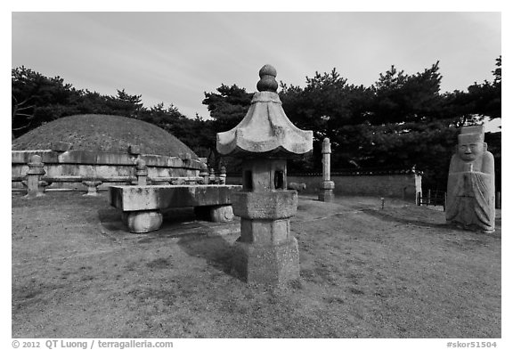Seolleung of King Seonjong, Samreung Gongwon. Seoul, South Korea (black and white)