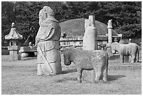 Grave mounds, tomb of King Seonjong, Samreung Gongwon. Seoul, South Korea (black and white)