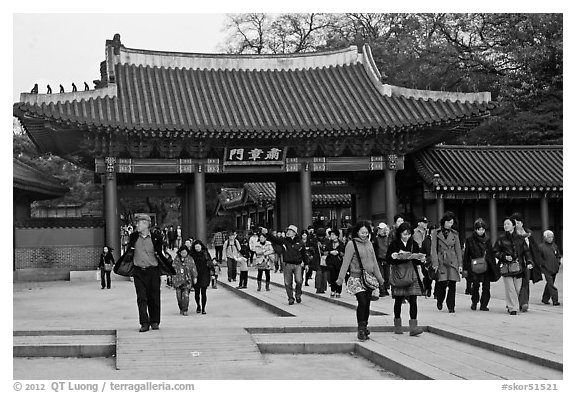 Black And White Picture Photo People Walking Down Gate Changdeok Palace Seoul South Korea