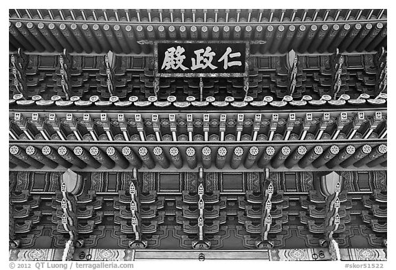 Under roof detail, Injeong-jeon, Changdeokgung Palace. Seoul, South Korea (black and white)