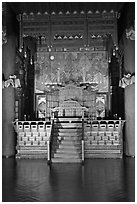 Throne, Changdeok Palace. Seoul, South Korea (black and white)