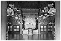Throne room, Changdeokgung Palace. Seoul, South Korea ( black and white)