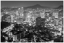 Elevated view of Jung Gu high-rises from Namsan. Seoul, South Korea ( black and white)