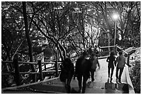 People on Namsan stairs by night. Seoul, South Korea ( black and white)