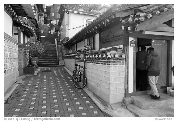 Alley in Bukchon Hanok Village. Seoul, South Korea (black and white)
