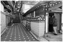 Alley in Bukchon Hanok Village. Seoul, South Korea ( black and white)