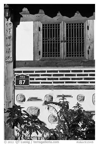 Window, hanok house. Seoul, South Korea (black and white)