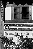 Window, hanok house. Seoul, South Korea ( black and white)