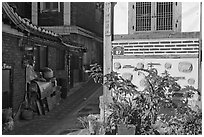 House and alley, Bukchon Hanok Village. Seoul, South Korea ( black and white)