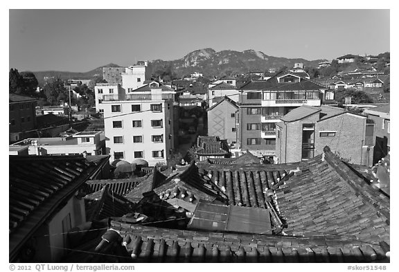 Bukchon Hanok Village. Seoul, South Korea (black and white)