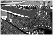 Tile rooftops of Hanok houses. Seoul, South Korea ( black and white)
