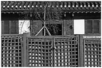 Traditional house facade and fence. Seoul, South Korea ( black and white)