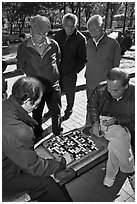Pensioners gathering to play game of go. Seoul, South Korea (black and white)