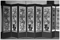 Folding screen, Jaegung, Jongmyo. Seoul, South Korea ( black and white)