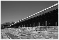 Main royal shrine, Jongmyo. Seoul, South Korea ( black and white)