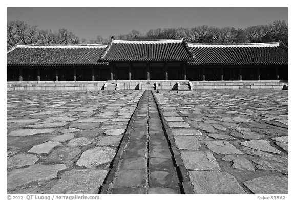 Jongmyo royal ancestral shrine. Seoul, South Korea (black and white)