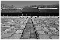Jongmyo royal ancestral shrine. Seoul, South Korea ( black and white)