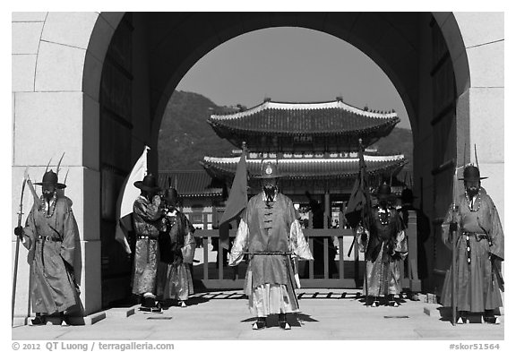 Gate guards and palace, Gyeongbokgung. Seoul, South Korea (black and white)