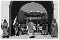 Gate guards and palace, Gyeongbokgung. Seoul, South Korea ( black and white)