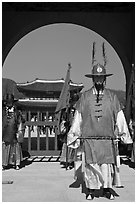 Commander of the Gate Guard (Sumunjang), Gyeongbokgung. Seoul, South Korea ( black and white)