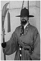 Gapsa (regular guard from Joseon dynasty), Gyeongbokgung. Seoul, South Korea (black and white)