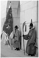 Guards in Joseon-period uniforms, Gyeongbokgung. Seoul, South Korea (black and white)