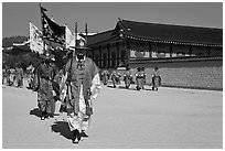 Royal guards marching, Gyeongbokgung palace. Seoul, South Korea ( black and white)
