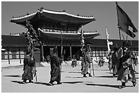Ceremony of gate guard change, Gyeongbokgung palace. Seoul, South Korea (black and white)