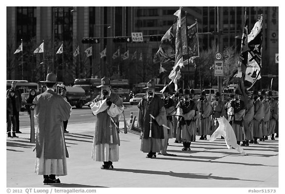 Changing of the Guard ceremony in front of Gyeongbokgung palace. Seoul, South Korea (black and white)