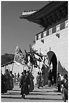 Guard change ceremony in front of Gyeongbokgung palace gate. Seoul, South Korea (black and white)