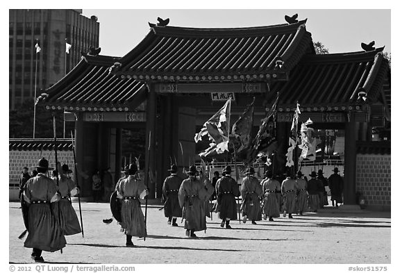 Ceremony of gate guard change, Gyeongbokgung. Seoul, South Korea (black and white)
