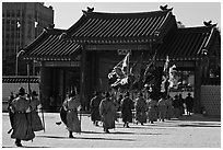 Ceremony of gate guard change, Gyeongbokgung. Seoul, South Korea ( black and white)
