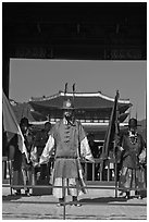Joseon guards and Gyeongbokgung palace. Seoul, South Korea ( black and white)