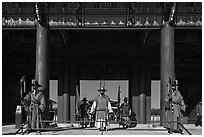 Guards at Heugnyemun gate, Gyeongbokgung. Seoul, South Korea (black and white)