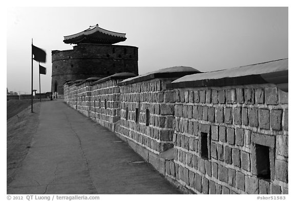 Dongbuk Gonsimdong and Hwaseong Fortress walls. South Korea (black and white)
