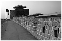 Dongbuk Gonsimdong and Hwaseong Fortress walls. South Korea ( black and white)