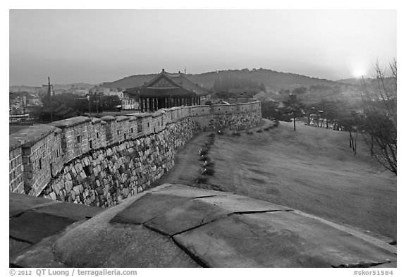 Sunset from Hwaseong Fortress walls. South Korea (black and white)