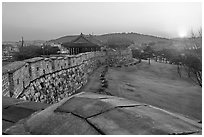 Sunset from Hwaseong Fortress walls. South Korea ( black and white)