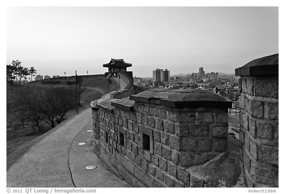 Inside Suwon Hwaseong Fortress wall. South Korea (black and white)