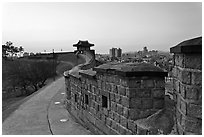 Inside Suwon Hwaseong Fortress wall. South Korea ( black and white)