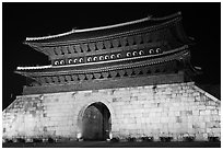 Janganmun gate at night, Suwon Hwaseong Fortress. South Korea ( black and white)