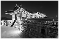 Seoporu (western sentry post) at night, Suwon Hwaseong Fortress. South Korea ( black and white)