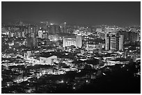 Suwon city at night. South Korea ( black and white)