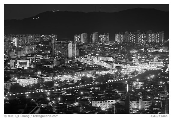 Elevated view of city at night, Suwon. South Korea (black and white)